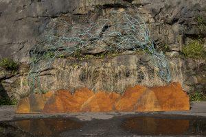 REACH copper, corten steel, live grasses 300 x 500 x 60 cm